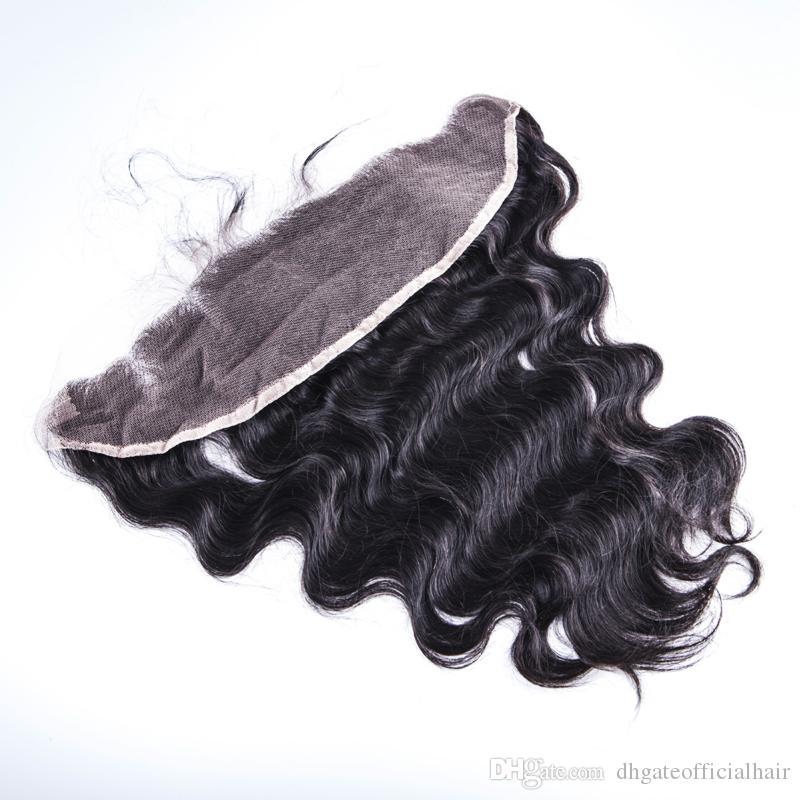 Frontal Closure 13x4 표백 된 매듭 바디 웨이브 헤어 웨이브 클로저 Human Hair 젖은 물결 모양의 인간 헤어 클로저 레이스 레이스 정면 폐쇄