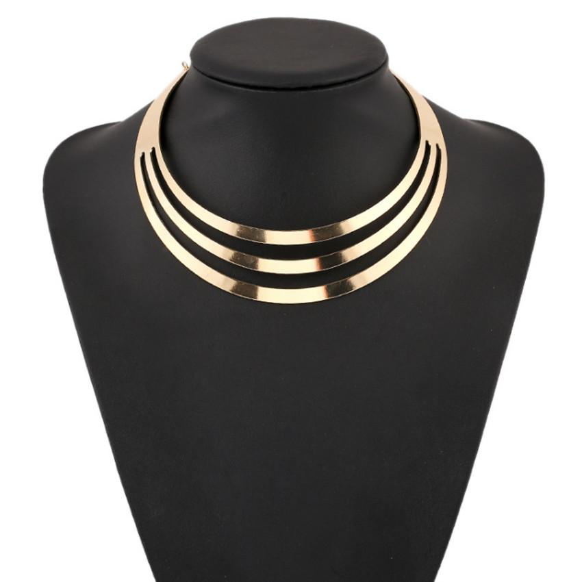 Statement Necklaces Jewelry Punk Fashion Women Quality Exaggerated Glossy Gold Silver Plated Alloy Chokers Wholesale Free Shipping SN894