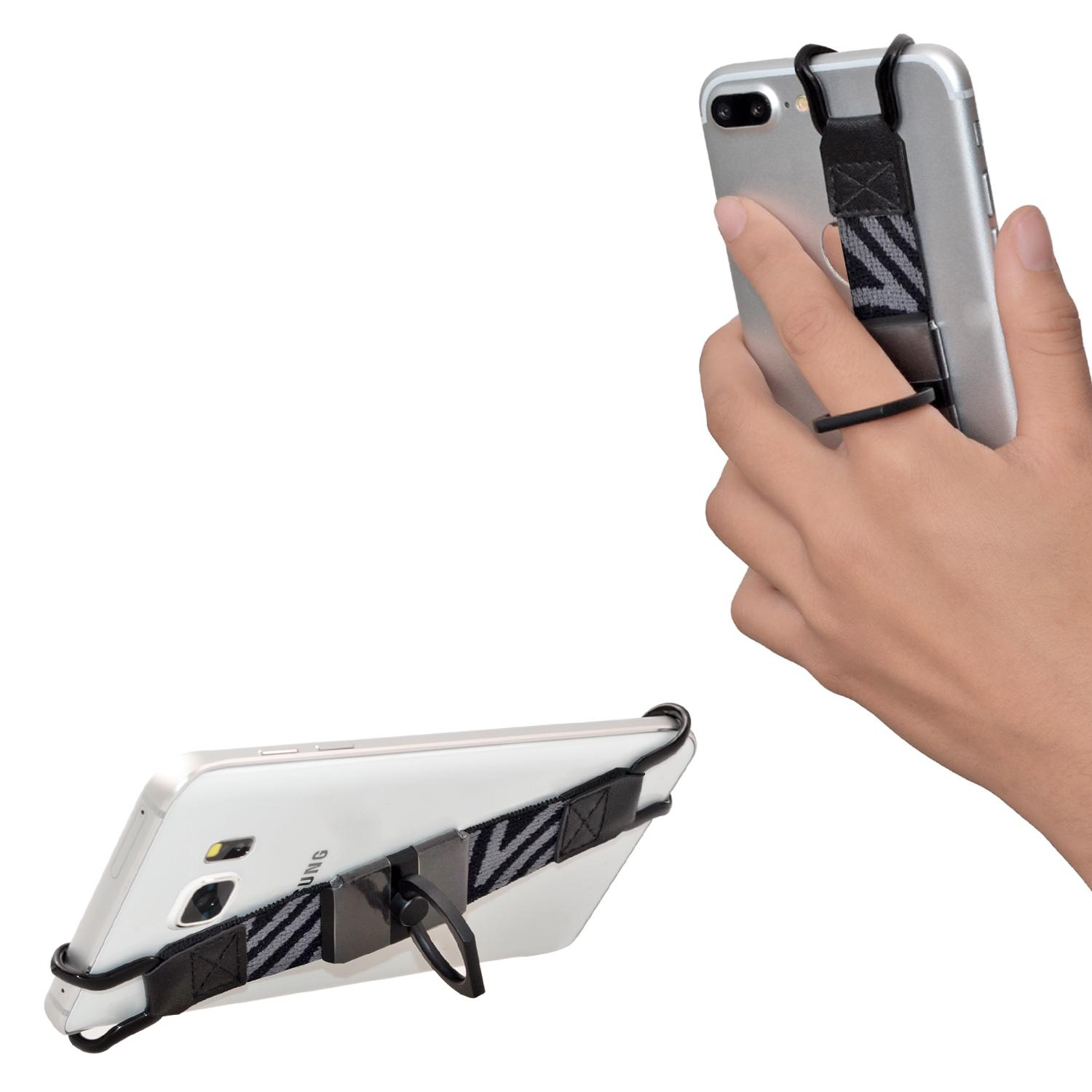 TFY Security Handschlaufe mit 360 ° Rotation Metallring Finger-Grip Halter Stand für iPhone Galaxy S6 Edge
