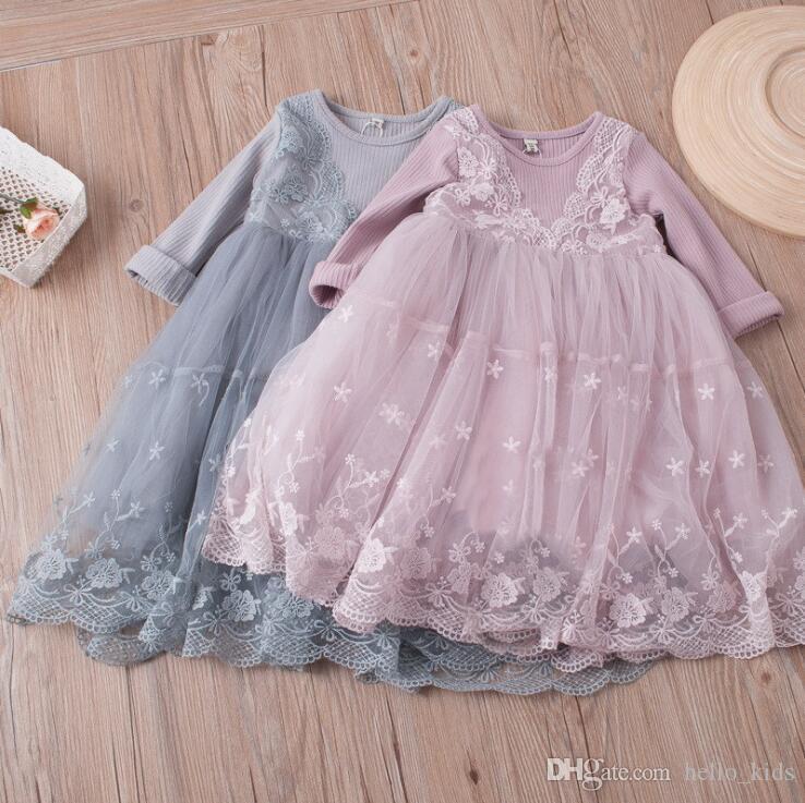 2017 아기 여자 아이 파티 드레스 가을 새 여자 아기 드레스 레이스 자수 스플 라즈 거즈 롱 슬리브 드레스