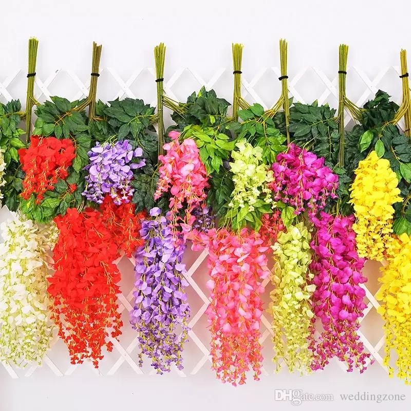 110cm Wisteria Wedding Decor 6 colors Artificial Decorative Flowers Garlands for Party Wedding Home For Free DHL Shipping