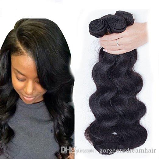 Royalty Brazilian Virgin Cheveux Body Wave Remy Cheveux Humains 3 Bundles Tissu 100% Sans trarsé Extensions de cheveux Naturel Couleur naturelle