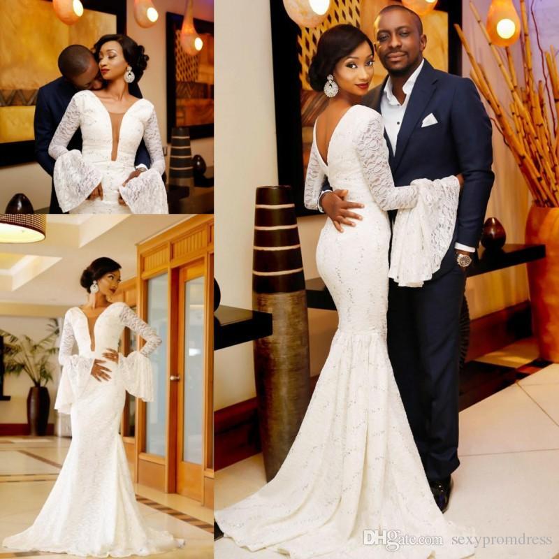 Ретро кружева русалка свадебные платья Sheer шеи труба с длинными рукавами свадебные платья свадебные шеи V назад Саудовская Аравия Свадьба Vestidos