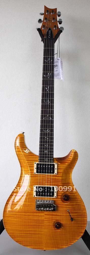 사용자 지정 24 개인 주식 폴 스미스 옐로우 불꽃 메이플 탑 일렉트릭 기타 진주 조류의 화이트 Moother 가기 반지 상감 세일