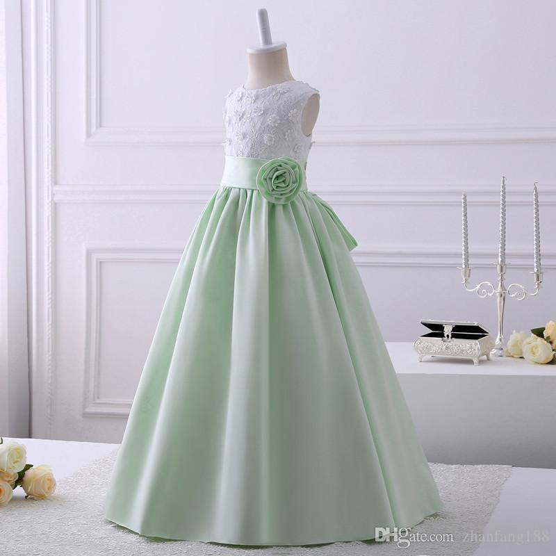 2019 Real Pics Appliques in pizzo Flower Girl Abiti Scoop Scollatura senza maniche Piano Lunghezza Bambini Wedding Party Gown Custom Made