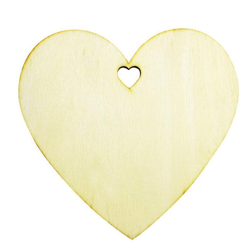 50pcs 100mm LOVE Hearts Shape Wooden Crafts With Holes Laser Cut Wood Heart For Home Decorations Wall Stickers Wooden Hearts