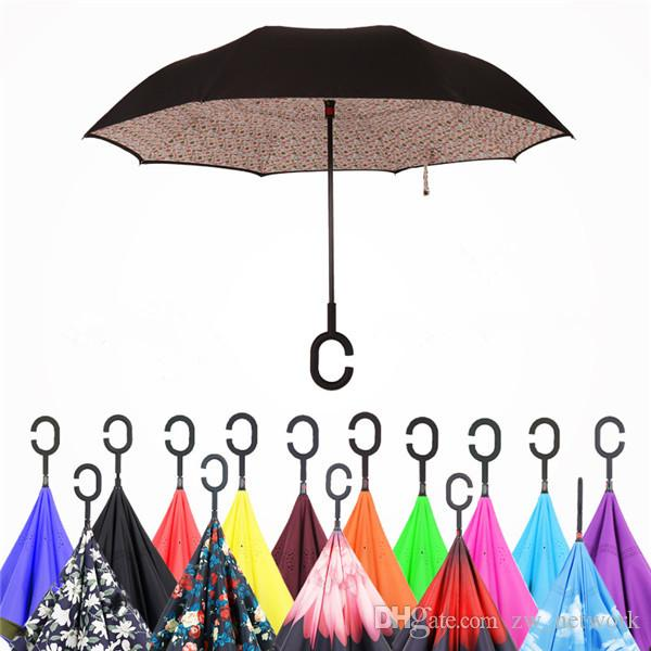 Paraguas invertido a prueba de viento Plegable plegable de doble capa lluvia inversa sombrillas de sol en el interior de la toma de autoportes Soporte Bumbershoot con la manija C 30 estilos