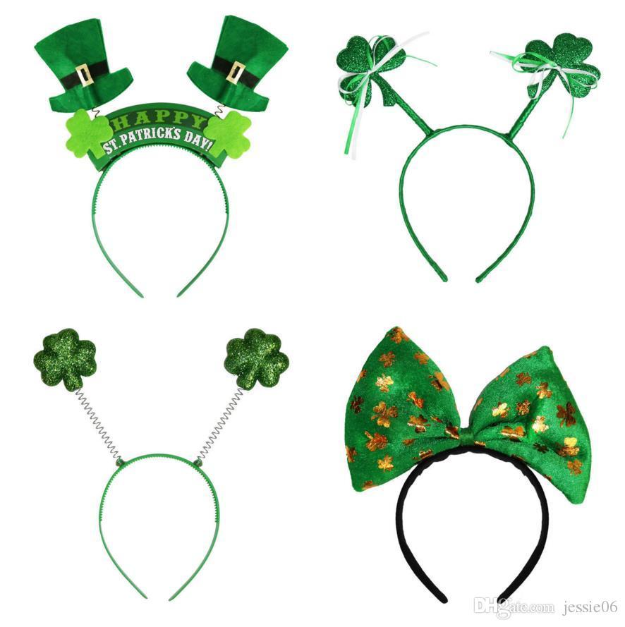 Irlandais St Patricks Day bandeau vert Leprechaun bandeau Shamrock Boucle Déguisement Carnaval Accessoires de Noël fête chapeaux haut faveur