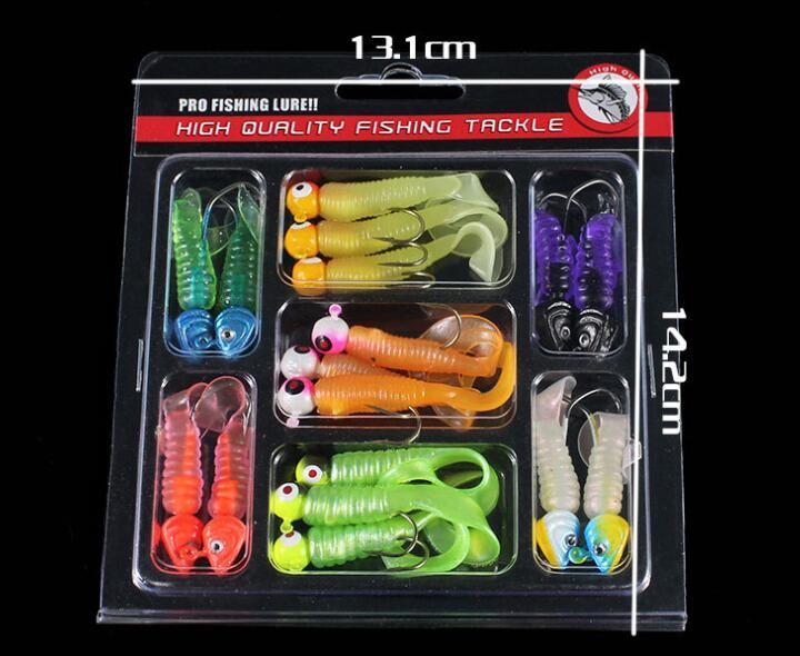 17PCS Soft Plastic Bait 142Gram Grub Worms Suit Jig Head Hooks Shads Silicone Artificial lures Fishing Tackle for Fly Fishing