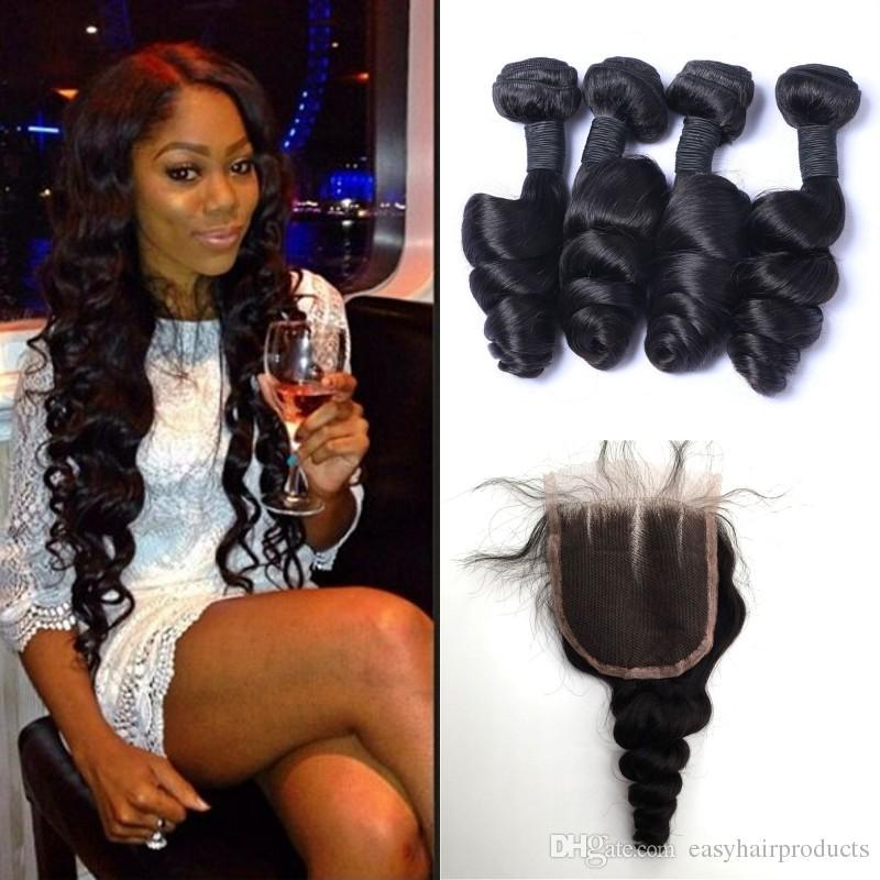 Unprocessed Human Hair Malaysian Loose Wave Virgin Hair Bundles With Lace Closure 5pcs Lot Natural Black Wavy Hair Weaves Closure