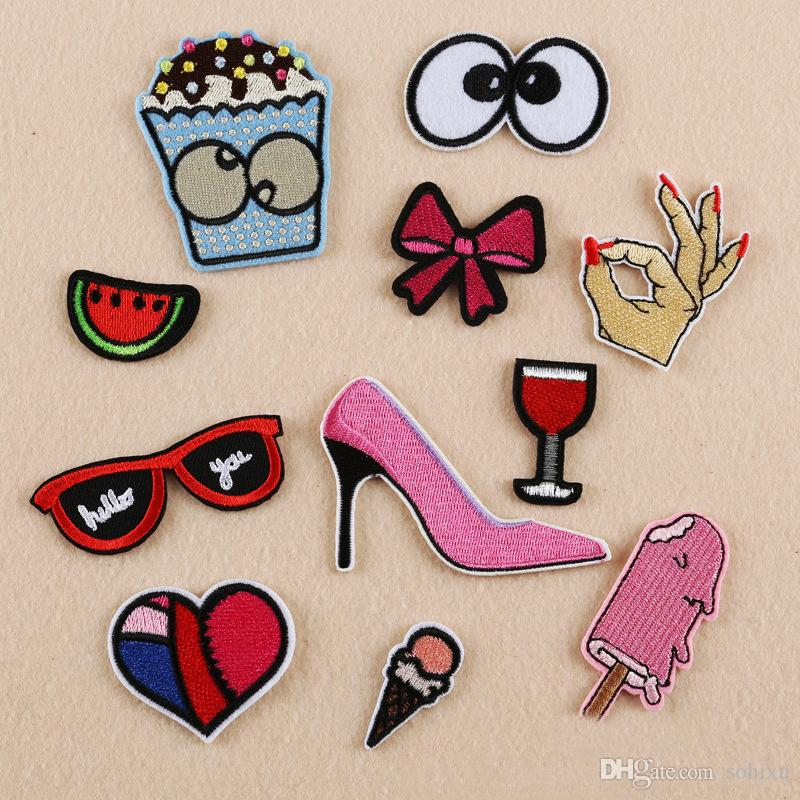 10pcs High Heel Shoes Heart Glasses Embroidered Patch For Clothing Jacket Patches Iron On parches ropa Jean Dress Fabric Patchwork Appliques