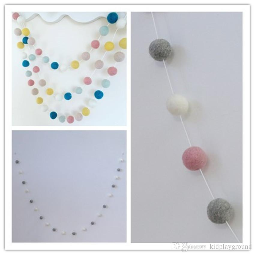 eClouds New 20PCS Wool Felt Ball Garland string Grey Pink White 3cm Wool Felt Balls strand Baby Kids Room Decorations