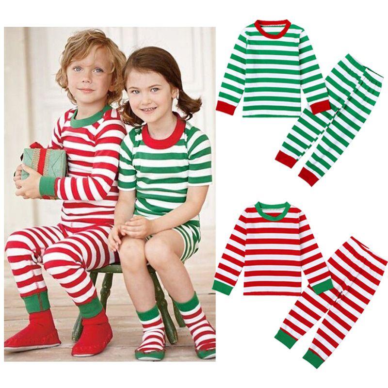 2017 XMas INs Garçon Filles Enfants Manches Longues Rayures De Noël Pyjama Ensembles Rayé T-shirt + Pantalon Rayé 2 Pièce Ensembles Enfants En Coton De Nuit
