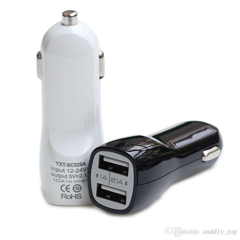 Caricabatteria da auto doppia porta USB 5V 2.1A / 1A caricabatterie IN-auto per iPhone X 8 7 più 6S Samsung Galaxy S7 S8