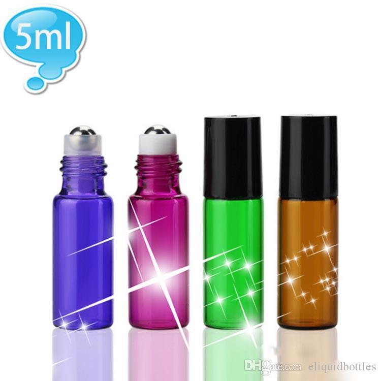 Hot Sale 5ml Glasflaschen Farbige 5 ml Rollerball Flaschen mit Edelstahl Roll Black Cap für 5ml Probe Eliquid eJuice Oil
