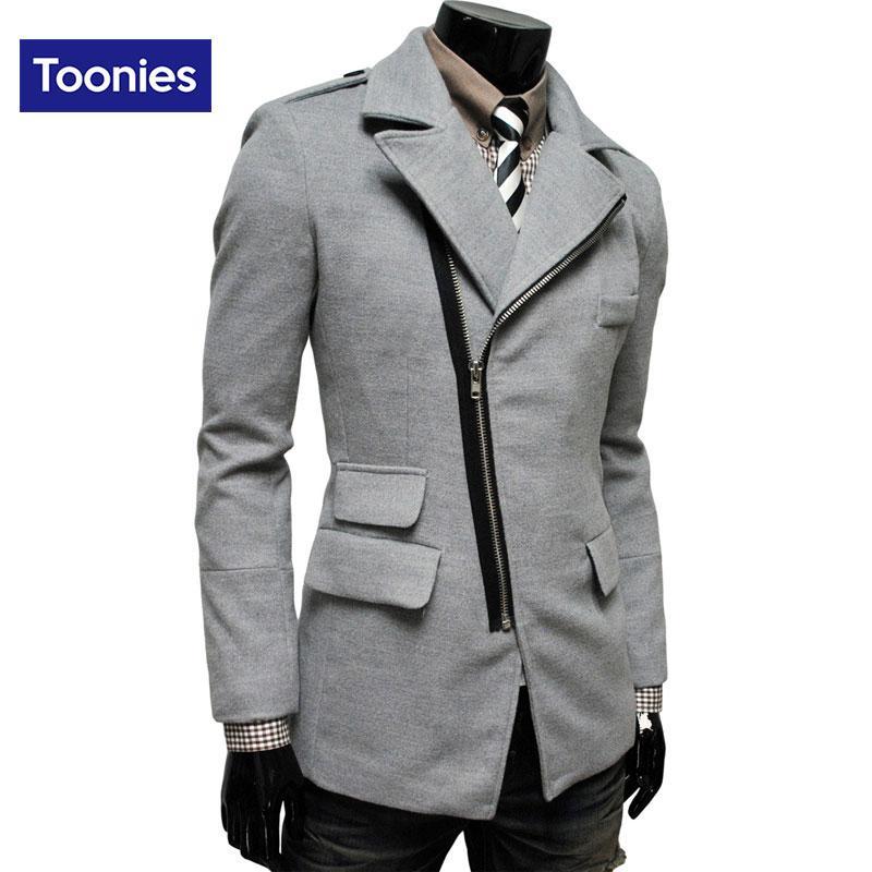 Herrenbekleidung 2016 Winter-Trend Unregelmäßige Overcoat Oblique Reißverschluss-Tasche Revers Männer Wollmantel 4 Farben Medium Long Jacket