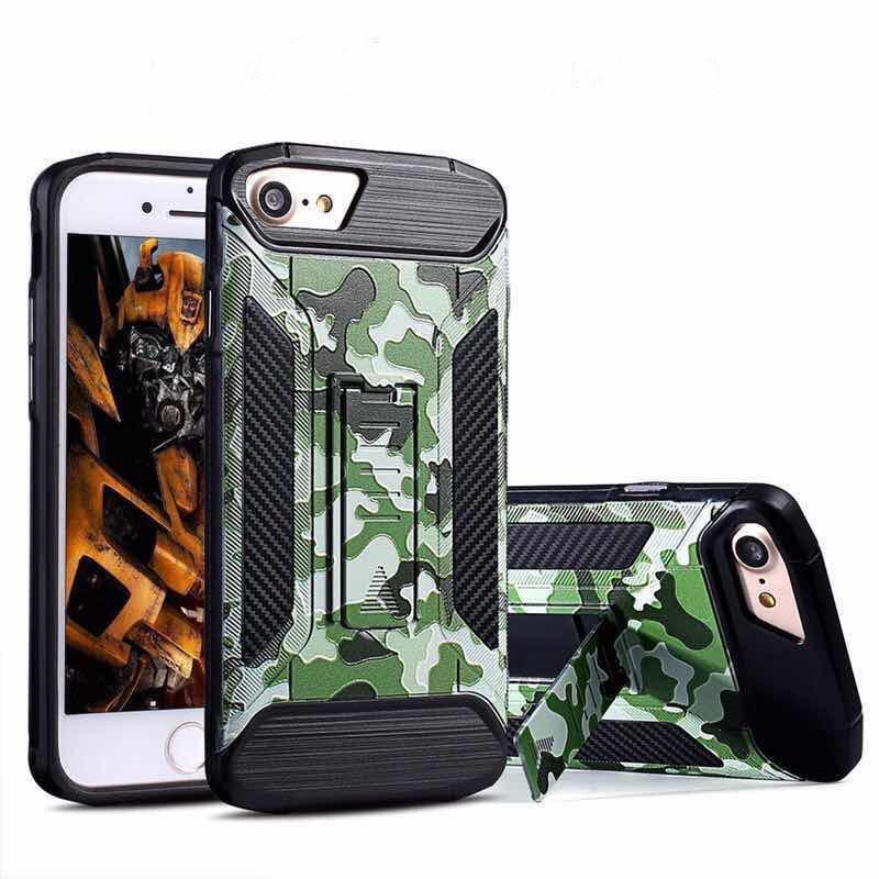 Rüstung Hybrid Case für iPhone X iPhone 8 Plus Galaxy Note 8 S8 PLUS Tarnung 2 IN 1 TPU + PC Abdeckung mit Standfuß
