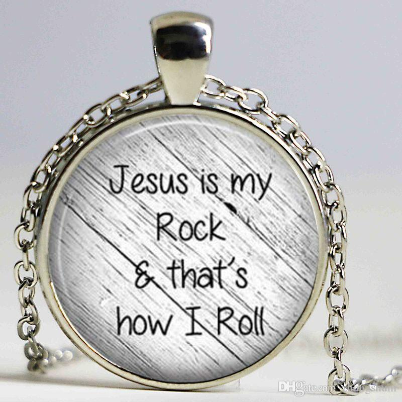 Jesus is my rock and that is how I roll necklace Faith Pendant Christian Inspirational jewelry glass Cabochon Necklace