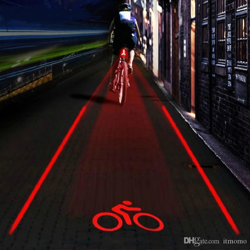 5 LED 2 Laser vélo Logo vélo intelligent arrière à la lumière de la lampe de sécurité Super Cool pour Owimin intelligent vélo rouge
