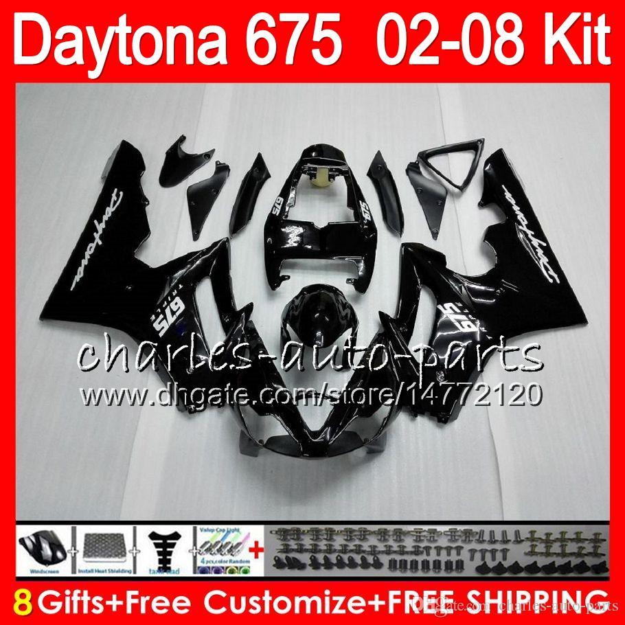 8 Regalos 23 colores para Triumph Daytona 675 02 03 04 05 06 07 08 Daytona675 4HM1 Daytona 675 2002 2003 2004 2005 2006 2007 2008 Black Fairing