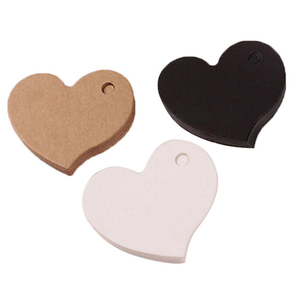 Toptan-50 adet 4.5 * 4 cm Kalp Şekli Kraft Kağıt Kartı Düğün Favor Hediye Etiketi DIY Etiketi Fiyat Etiketi Parti Favor