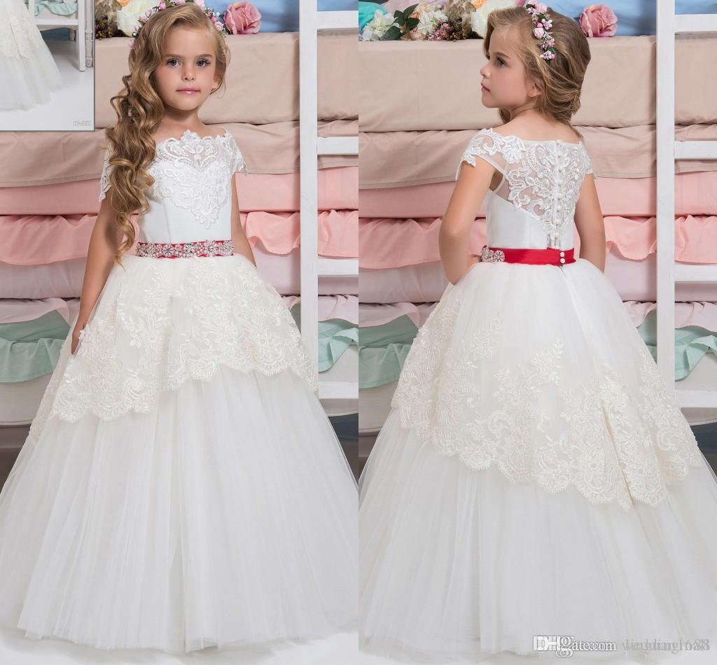 Arabisch-Spitze-Blumen-Mädchen-Kleid-Kappen-Hülsen-Weinlese-Kind-Kleider Schöne Blumen-Mädchen-Hochzeitskleider