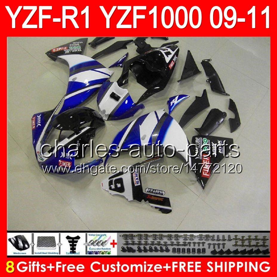 gloss blue 8gifts Body For YAMAHA YZFR1 09 10 11 YZF-R1 09-11 95NO91 YZF 1000 YZF R 1 YZF1000 YZF R1 2009 2010 2011 TOP blue black Fairing