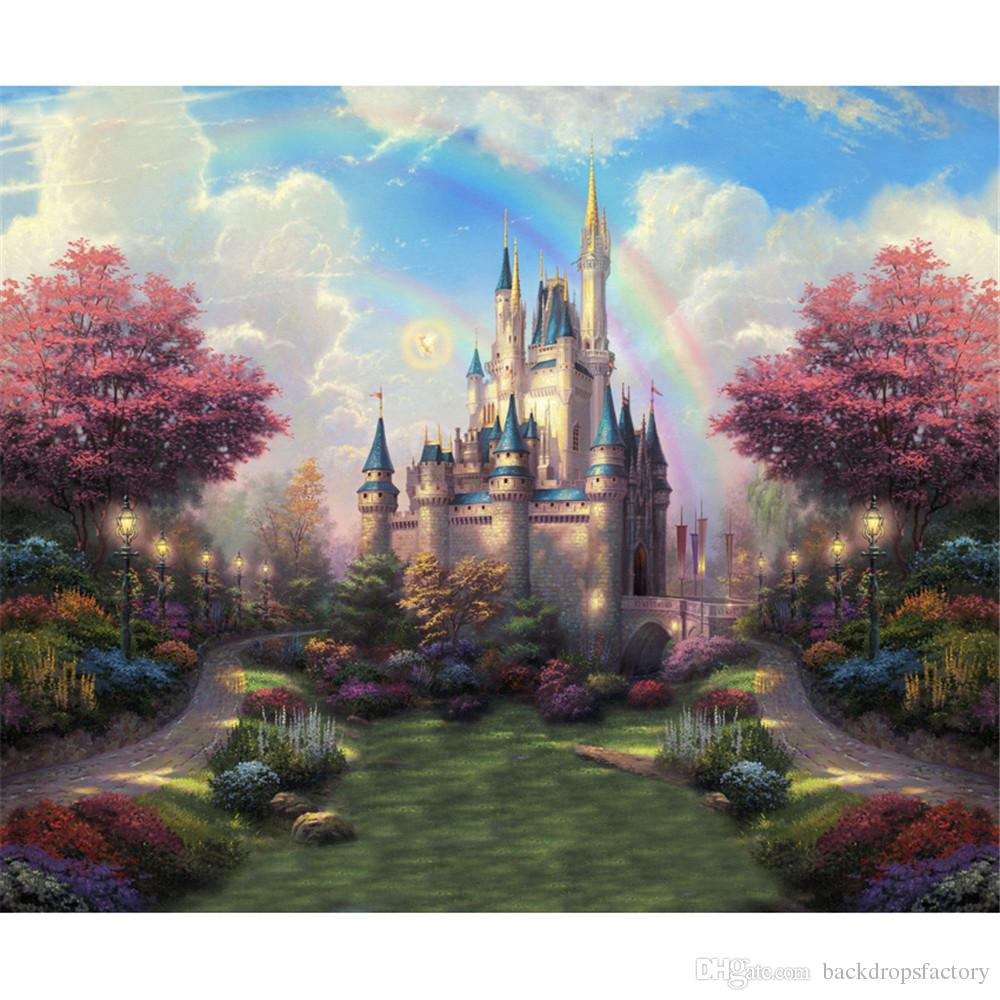 2020 Rainbow Kids Castle Backdrop Blue Sky Trees With Red Leaves