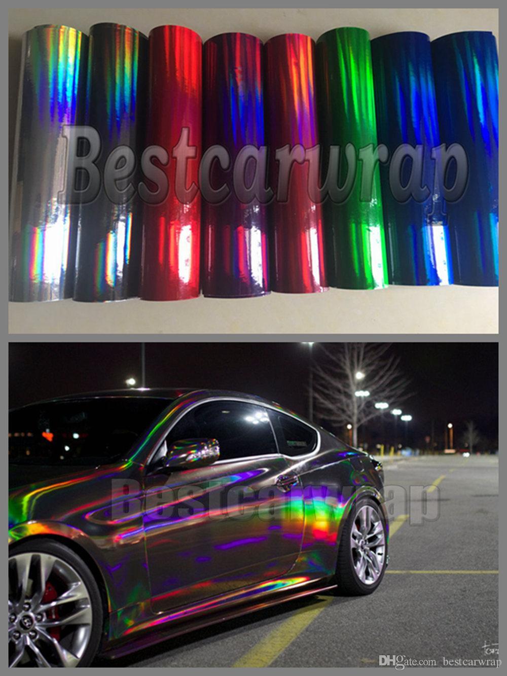 Различный фильм винила Крома цвета голографический для автомобиля оборачивая с воздушным пузырем освобождает фольгу лазера обруча Крома хамелеона радуги 1.52x20m / 5x67ft