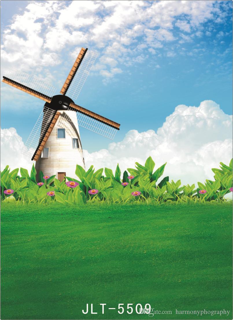 printemps néerlandais moulin à vent ordinateur imprimé photographie toiles de fond vinyle tissu arrière-plans photocall pour les enfants de mariage bébé pour photo studio