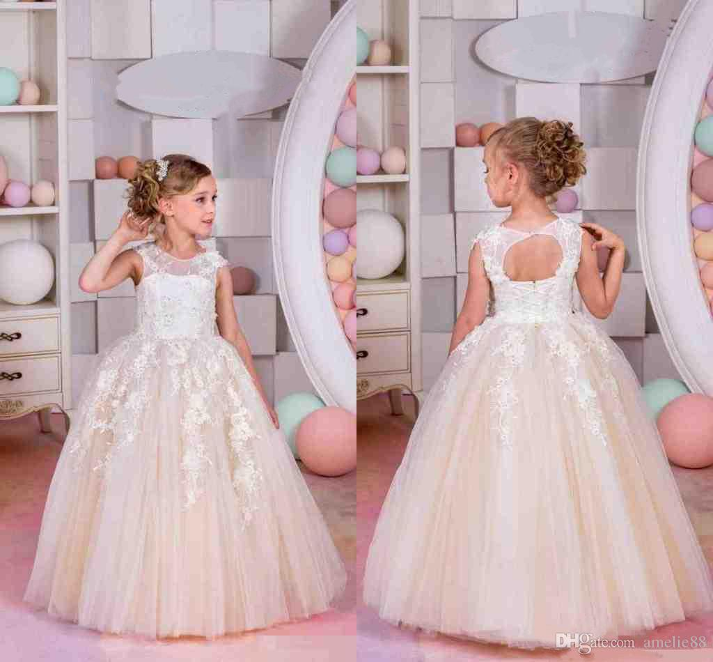 Lace Champagne Flower Girl Dresses For Weddings Tulle Ball Gowns ...