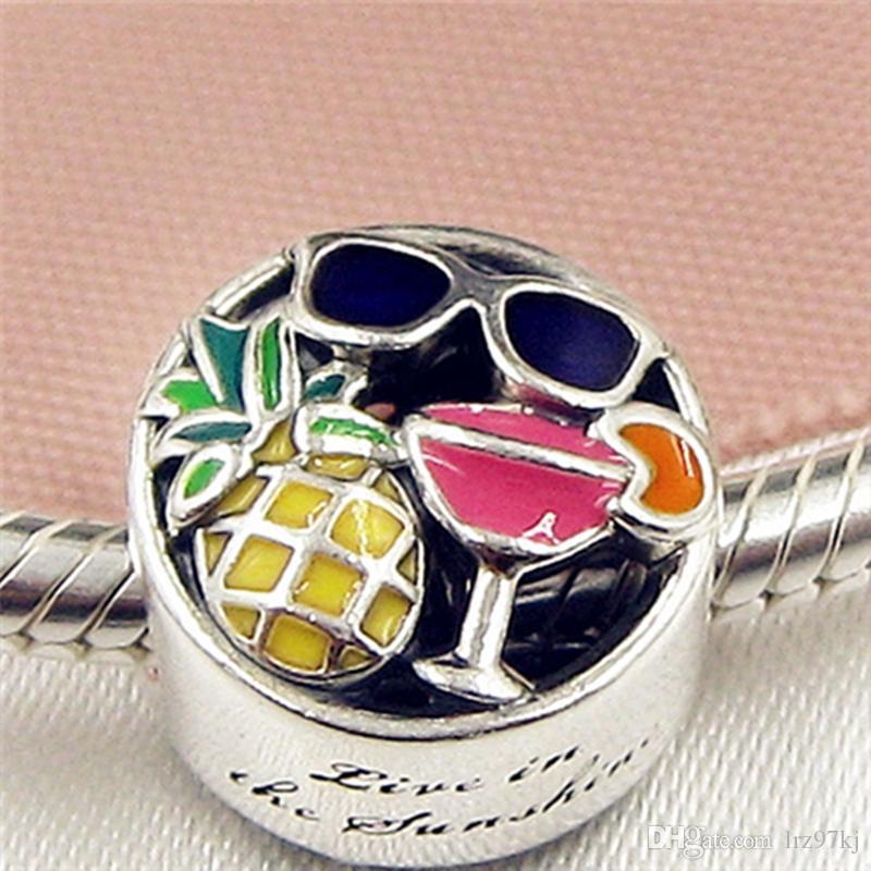 Il nuovo branello di fascino di divertimento dell'estate dell'argento sterlina 925 con lo smalto misura i braccialetti europei dei monili di Pandora