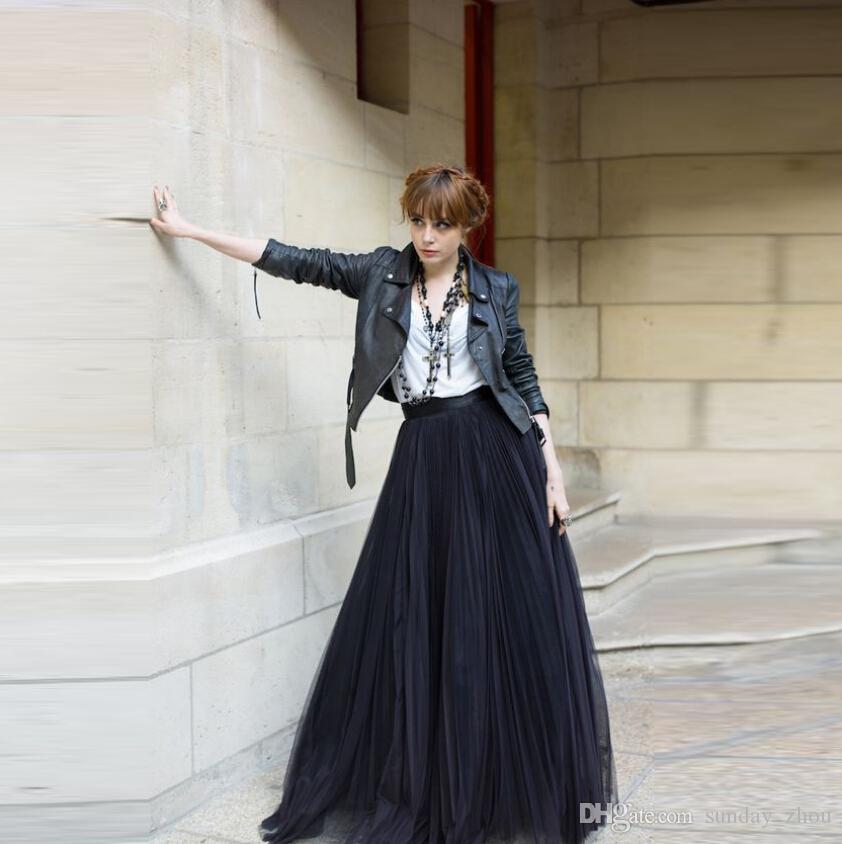 31032c875a ... Black Maxi Skirt A Line Floor Length Long Pleated Tulle Skirt New  Arrival Spring Autumn Winter