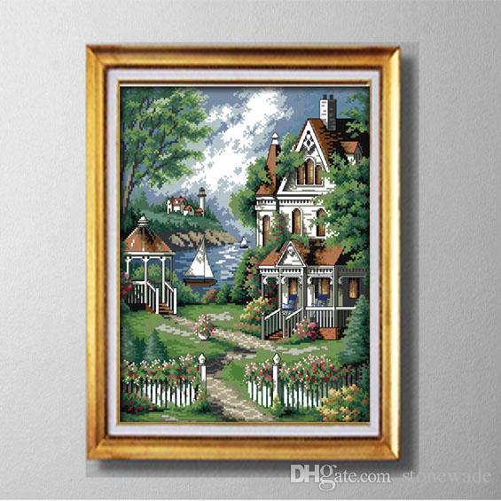 Giardino in stile europeo giardino, stile europeo Punto croce Set cucito Kit di ricamo dipinti contati stampati su tela DMC 14CT / 11CT