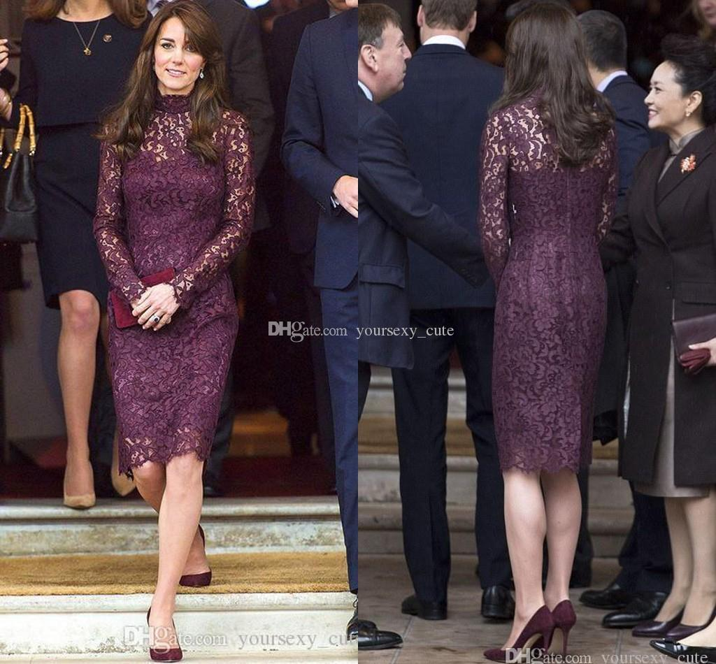 2017 Newest Lace Mother Of The Bride Dresses High Neck Long Sleeves Sheath Knee Length Purple Kate Middleton Celebrity Dresses Prom Dress