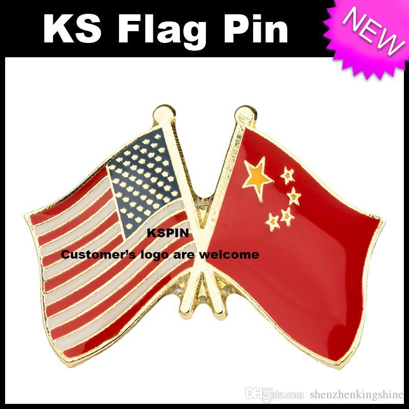 Stati Uniti Cina Amicizia Bandiera Bandiera Badge Pin 10pcs molto Spedizione gratuita XY0297