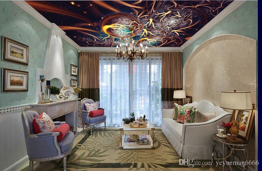 فاخرة مخصصة سقف خلفية الأوروبي خلفية بات ملون للجدران والسقوف 3D حلقات شجرة الجداريات سقف محبوكة خلفية الأوروبية
