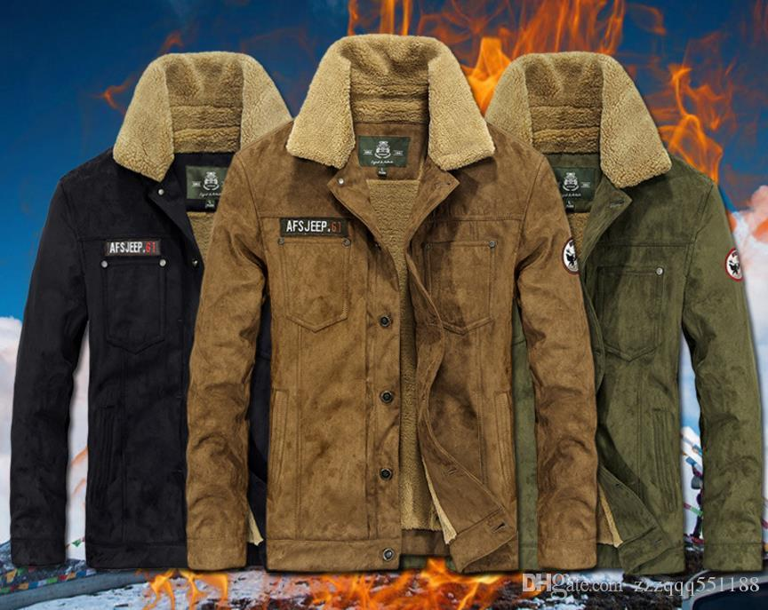 729ea795e29bc Thick Warm Parka -30 Degree Plush Turn-down Collar Mens Military Green  Winter Jackets And Coats AFS JEEP Original Brand Clothing