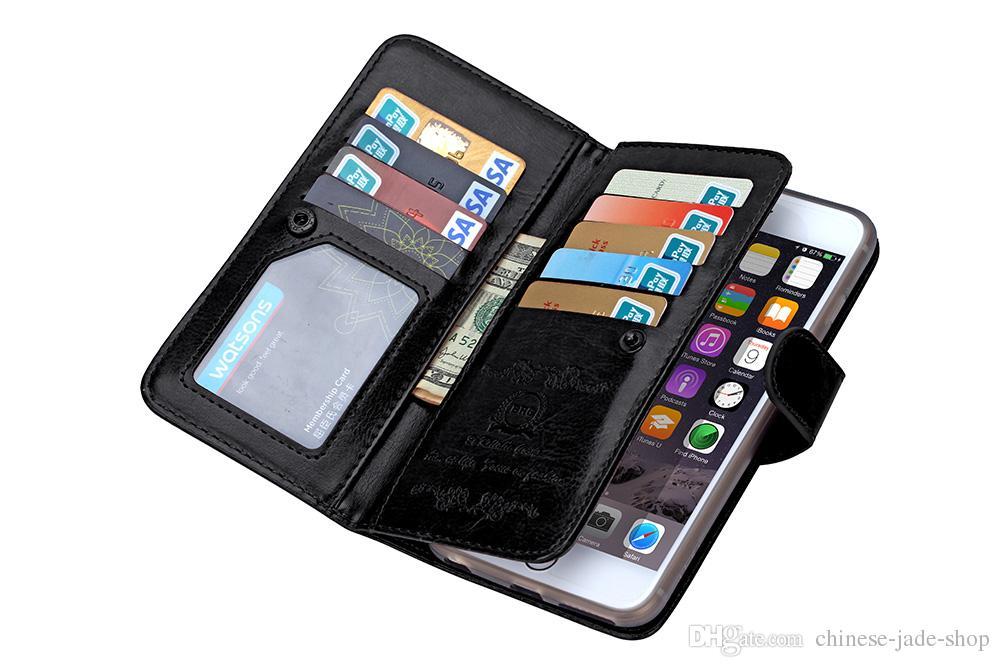2in1 magnética desmontable 9 Card Wallet Funda de cuero para iphone 6 plus iphone 7 plus Galaxy s7 edge s6 edge plus note 4 note 5 20pcs / lot