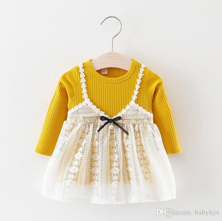Compre Vestidos De Niña Otoño Primavera 0 3y Princesa Rosa Vestido 70 80 90 100 Cm Set Color Rosa Y Amarillo A 1598 Del Babyhys Dhgatecom