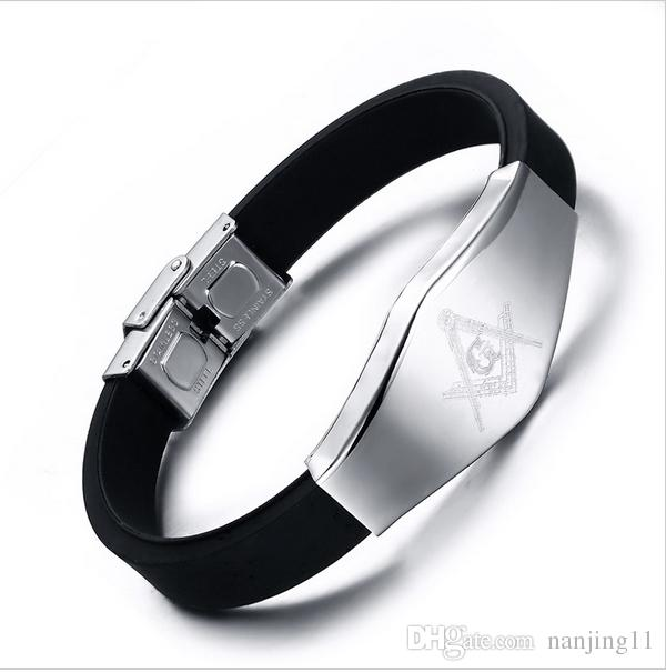 Cool punk masonic pattern men's silicone+stainless steel bracelets & bangles casual hand chain for men jewelry BS-062