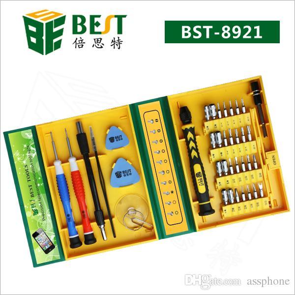 Envío gratis BST-8921 Destornillador BEST 38 en 1 Juego de destornilladores Juego de destornilladores Teléfono Herramienta de reparación de apertura para teléfono móvil, PC, Ordenador portátil