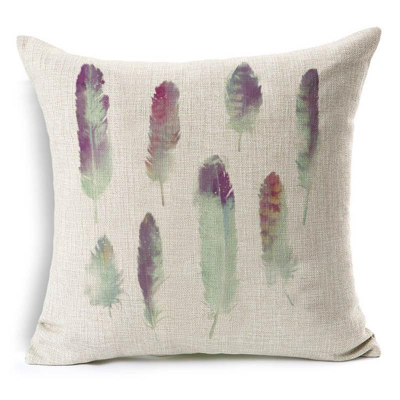 New Feather Design Throw Pillowcase Cotton Linen Cushion Cover Decorative Pillow Covers Home Sofa Bed Car