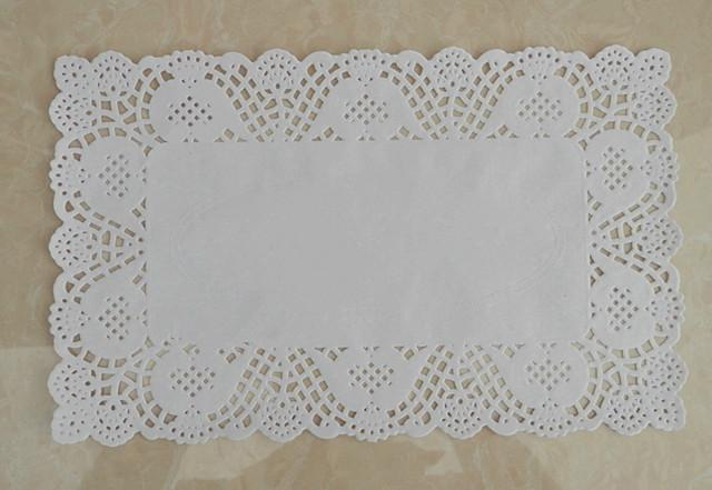 1000PCS 7*12 inch Rectangle White lace Paper Doilies Cake Pad for Christmas party decoration Plast mat Free Shipping