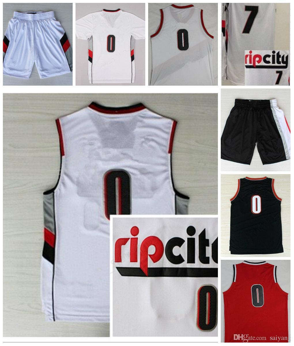 timeless design baf57 60da1 2019 Wholesale RipCity 0 Damian Lillard Jersey Mens 7 Brandon Roy Shorts  Rip City Uniforms Rev 30 New Material Team Color Retro Red White Black From  ...