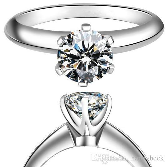 クラシックソリティア1ctラウンドカット合成ダイヤモンドの結婚指輪ソリッド925スターリングシルバーアニバリーギフトブリリアント永遠のジュエリー
