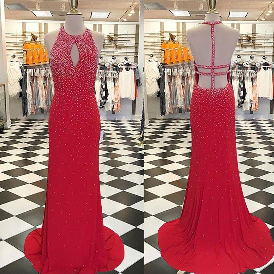 Guaina Jewel sweep treno schiena aperta Prom Dress rosso buco della serratura con cristalli perline perle abito da sera vestidos para formatura