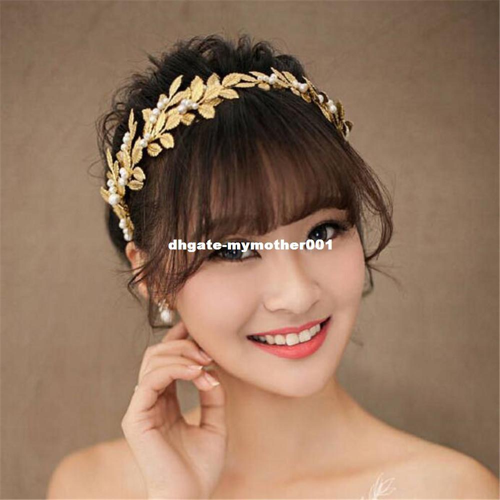 MHS.SUN hojas mayor del color de oro para la joyería forma de diadema fiesta de la boda de novia perlas tiara de banda para la cabeza 1pc / lot al por mayor !!