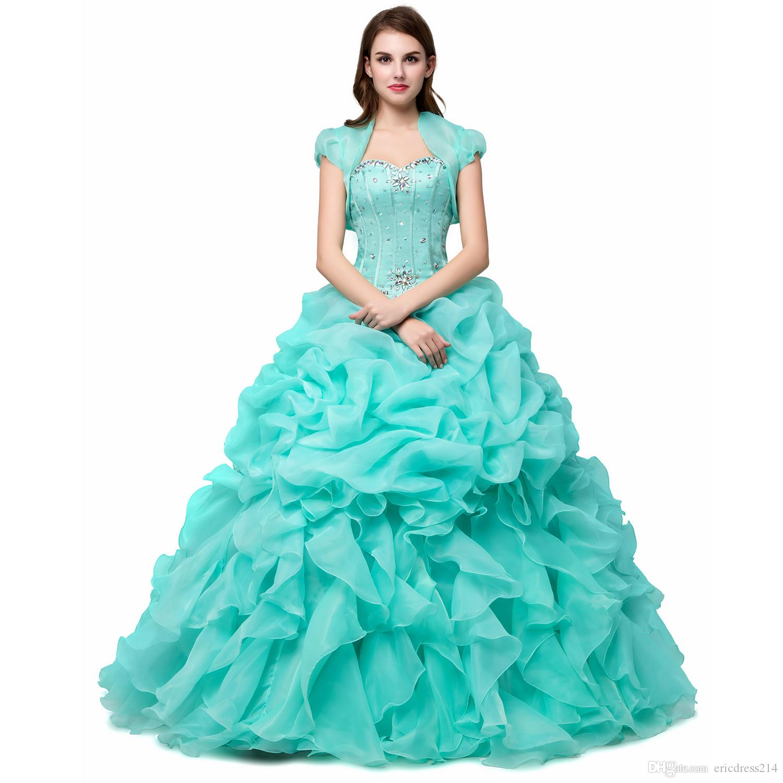 Großhandel Günstige Ballkleider Süße 13 Lange Hellgrün / Rosa / Gelb  Mädchen Quinceanera Kleider Mit Jacke Wrap Vestidos De 13 Anos Formale Prom
