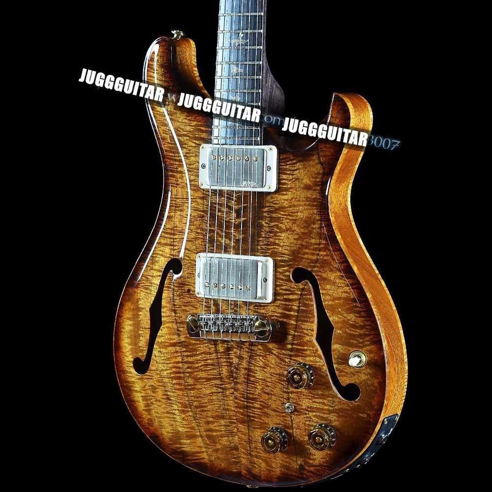 Paul Reed Hollowbody II Righteous Private Stock Natürliche Satin Koa Smoked Burst E-Gitarre Ebenholz Griffbrett Vintage Abalone Birds Inlay